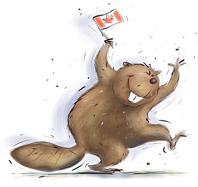 Image of beaver with Canadian flag